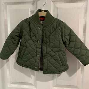 Army green toddler button up jacket size 18 mo